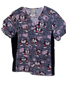 Disney Women Scrub Top Sz XL Mickey Minnie Mouse Black Gray Pink Spandex Sides