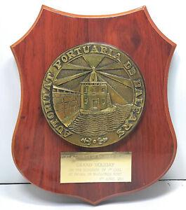 """Vintage Antique Wooden Plaque & Sign """"Portuaria De Baleas"""" For Home Decor"""