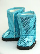 """Teal Sparkling Sequin Boots Fits 18"""" American Girl Doll Clothes Shoes"""
