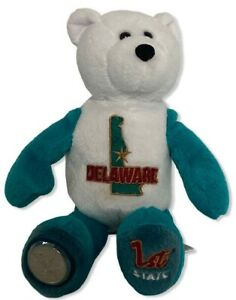 Delaware State Quarter Beanie Bear Limited Treasures White Turquoise 8.5 Inches