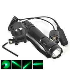 Green LED 3000LM Tactical Flashlight Torch Mount Hunting Light Gun Rail 1 Mode