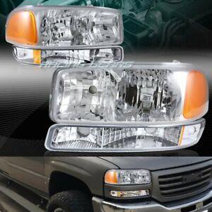 FOR GMC YUKON/SIERRA 1500 2500 CHROME HEADLIGHTS+BUMPER LAMPS W/AMBER REFLECTOR