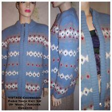 """Vtg """" Courreges """" Paris Wool Angora Blend Thick Knit Designer Zip Up Sweater L"""