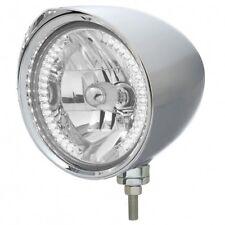 """UNITED PACIFIC 32528 - """"CHOPPER"""" Headlight w/ Razor Visor - 34 White LED H4 Bulb"""