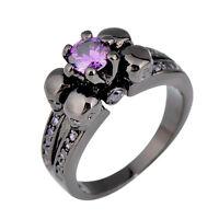 Skull Ring Purple Amethyst Women's Engagement Black Gold Filled Gift Size M-T1/2
