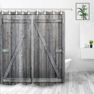Rustic Gray Barn Wood Door Shower Curtains Bathroom Waterproof Fabric 71inch