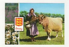 Jersey Milk Maid With Jersey Cow Postcard 610a