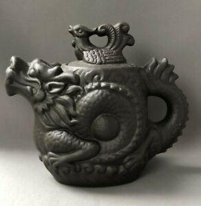 Matt Black Glaze Pottery Chinese Teapot Dragon Stamped Mark to Base Detailed