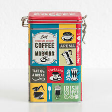 Coffee Collage Retro Storage Tin 3 Litre Metal Kitchen Food Container Caddy Box