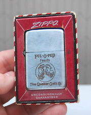 VINTAGE 1940'S QUAKER OATS FUL-O-PEP FEEDS ZIPPO LIGHTER STRIPED BOX 2032695