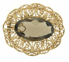 Vintage 14k Yellow Gold LARGE Filigree Open Frame Smokey Topaz Brooch Pendant