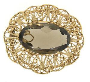 Vintage 14k Yellow Gold LARGE Filigree Open Frame Smokey Topaz Brooch Pendant
