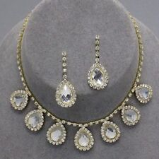 Sparkly clear diamante necklace set rhinestone earrings prom bridal gold tone