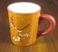 Jingle Bells Reindeer Vintage Hand-Painted Graphic Coffee Cup/Mug Bells Snow EUC