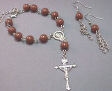 Pocket Rosary Bracelet Earring Set Auto 1 Decade Silver Accent BROWN Beads