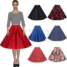 Women's Retro 50s 60s Rockabilly Floral Evening Party Pleated A-line Swing Skirt