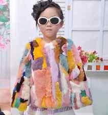 Girls Kid Real Fur Peacoats Parka Coat Luxury Warm Outwear Fleece Thick Furry Sz
