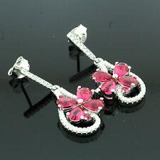 Sterling Silver Fancy Ruby Zirconia Earrings Gift Boxed
