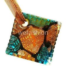 Silver Brown Aqua Square Lampwork Murano Glass Bead Pendant Ribbon Necklace Cord