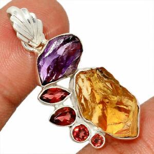 Citrine & Garnet Pendant Amethyst Necklace 925 SS Crystal Boho Jewelry P471