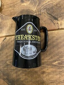 Theakston black ceramic hand crafted jug. 175mm Tall, 1Ltr. Used, Good condition