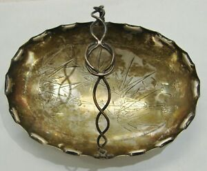 Lee Yee Hing Antique Chinese Coin Silver Dish w/ Handle - Bamboo Trees