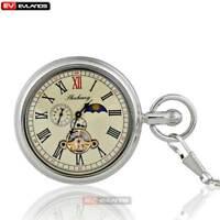 Silver Sun Antique Phase Tourbillion Wind Up Mechanical Pocket Watch Roman Retro