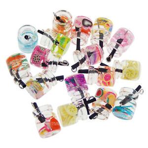 LYMECRSIN Colorful Mixed Glass Fruit Juice Bottle Charm Pendant Findings 20 pcs
