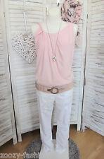 Designer Träger Top Shirt rosa Drapierung asymmetrisch 40 Ashley Brooke NEU