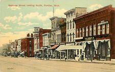 c1910 Postcard Saginaw Street Scene Pontiac MI Horsedrawn Oakland County