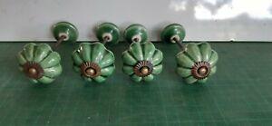 Vintage ceramic green cupboard door knobs,  with screw shafts and collars