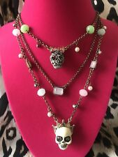 Crown Bow Layered Charm Necklace Rare Betsey Johnson Pet Shop Pastel Pearl Skull