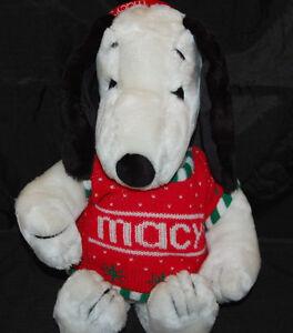 "Peanut Characters Snoopy Vtg Macys Sweater Woodstock Ear Muffs Plush Toy 19"""