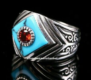Ruby Turquoise Stone Turkish Jewelry 925 Sterling Silver Mens Man Ring ALL SİZE
