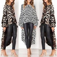 Women Leopard Print Casual High Split Tops Long Maxi Shirt Dress Blouse Ladies