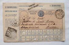 CARTOLINA VAGLIA 1899 REGNO UMBERTO I° TORINO ROMA PALAZZO QUIRINAL POSTAL ORDER