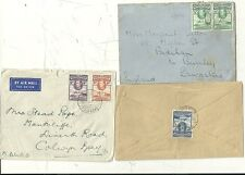 * 1939/44  GOLD COAST 3 COVERS > UK DIFF POSTAGE RATES 1d 3d & 1/3d ELMINA ACCRA