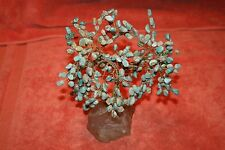 Vintage Wire & Crystal Stand with Blue Agate Stone Tree Statue