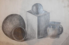 Vintage pencil drawing still life with pitcher, pot and globe