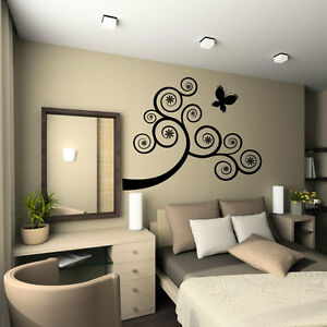 Swirly Flower Wall Sticker Tree And Butterfly Vinyl Decal Art Removable Decor UK