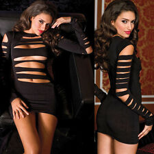 Black Spandex Lingerie Mini Dress Chemise w/ Cut Out Front Size Regular  ML6405