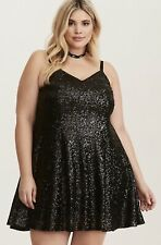 NWT Sold out! Torrid 5 Black Sequin Trapeze Slip Dress 5X Party or Formal Event!