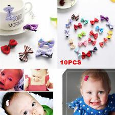 10Pcs Kids Baby Girls'  Children Bows Ribbon Hair Clip Cute Mini Latch Hairpins