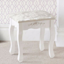 Floral Design White Vintage Dressing Table Stool Piano Chair Padded Makeup Seat