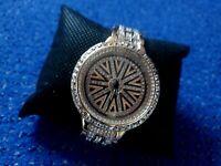 Fast neu! Luxus Damenuhr Modeschmuck-Uhr in gold mit Strassteinen Armreif gratis