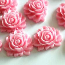 10pcs Pink Rose Flower Resin Cabochons 16mm