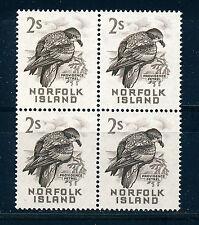 NORFOLK ISLAND 1960-62 DEFINITIVES SG32 2/- (BIRD) BLOCK OF 4 MNH