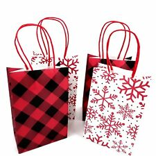 Small Christmas Gift Bags 4 Count Red Black Plaid Snowflake Combo by Homemade