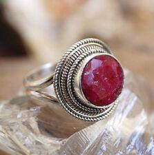 Silberring 55 Rubin Rot Rosenrot Handarbeit Silber Ring Verpsielt Vintage Design
