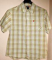 Tony Hawk Young Mens Shirt Sz XL S/S Striped Plaid Ivory Green Brown Casual
